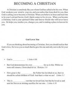 Sample Workbook Page From Answers for New Christians