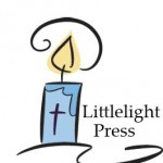 logo picture of a little blue candle with a cross on it, text saying Little Light Press